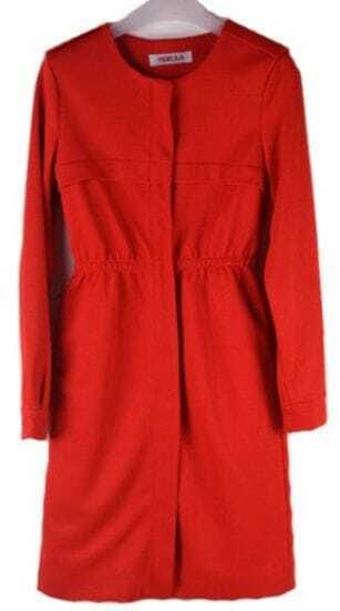 Red Long Sleeve Round Neck Tunic Dress