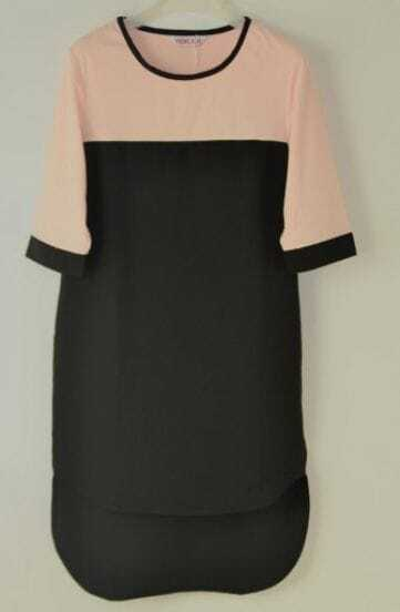Black Three Quarter Length Sleeve Dipped Hem Shift Dress