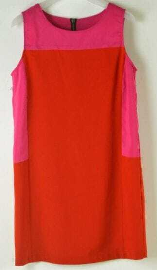 Red Sleeveless Contrast Panel Zip Back Tank Dress