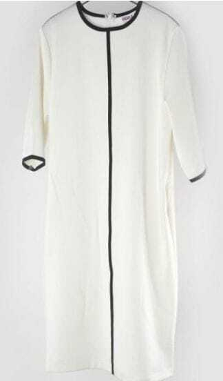 White Long Sleeve Contrast Trims Zip Back Shift Dress