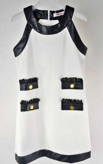 White Sleeveless Pockets Embellished Contrast PU Trims Dress