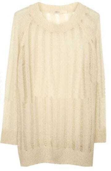 Beige Striped Long Sleeve Distressed Knitted Sweater