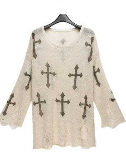 Beige Cross Print Distressed Long Sleeve Jumper