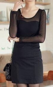 Black Contrast Sheer Mesh Long Sleeve Short Dress