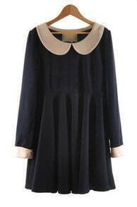 Navy Contrast Peter Pan Collar Long Sleeve Flare Short Dress
