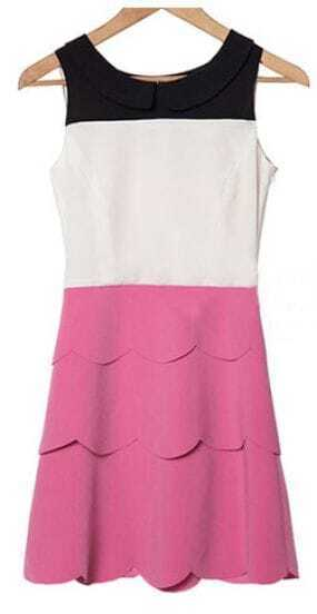 Pink Peter Pan Collar Sleeveless Scallop Layers Short Dress