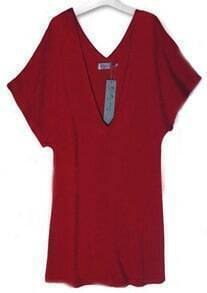 Red Deep V-neck Batwing Short Sleeve Knitted Dress