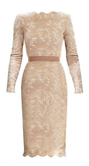 Champagne Long Sleeve Floral Lace Scalloped Hem Dress