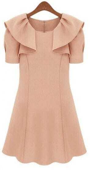 Nude Ruffle Collar Puff Short Sleeve Zip Back Flare Dress