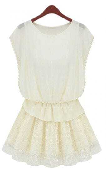 White Butterfly Sleeve Floral Lace Pleated Short Dress