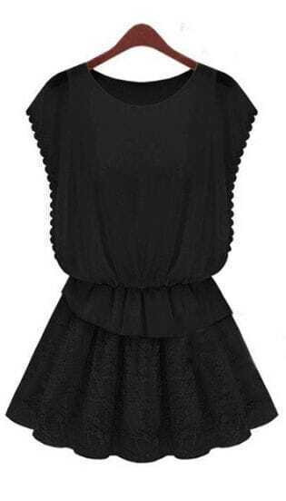 Black Butterfly Sleeve Floral Lace Pleated Short Dress
