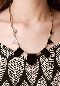 Black Geometric Shape Chain Necklace