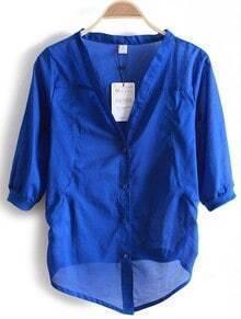 Blue V Neck Three Quarter Length Sleeve Single Breasted Shirt