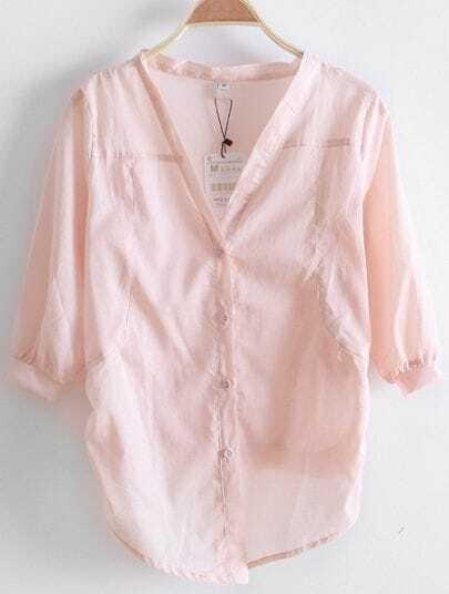 Pink V Neck Three Quarter Length Sleeve Single Breasted Shirt