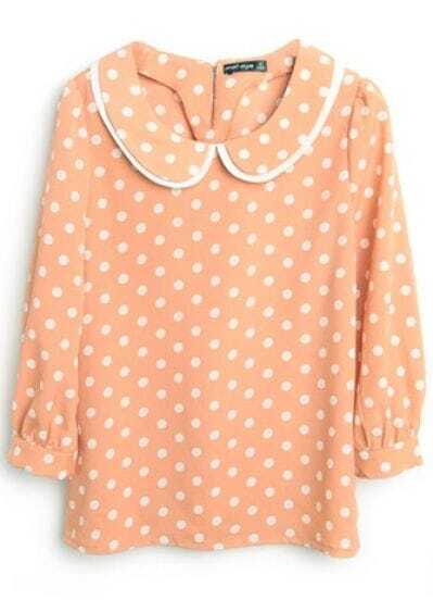 Orange Lapel Long Sleeve Polka Dot Chiffon Shirt