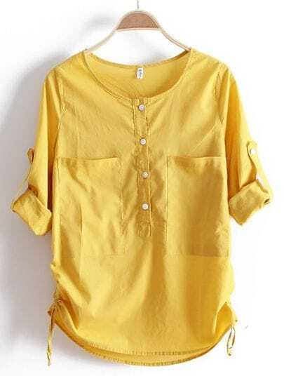 Yellow Round Neck Long Sleeve Loose Pockets Cotton Shirt