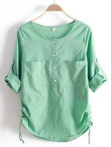 Green Round Neck Long Sleeve Loose Pockets Cotton Shirt