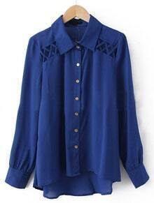 Blue Lapel Long Sleeve Hollow Asymmetrical Chiffon Shirt