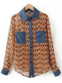 Coffee Lapel Long Sleeve Polka Dot Pockets Chiffon Shirt