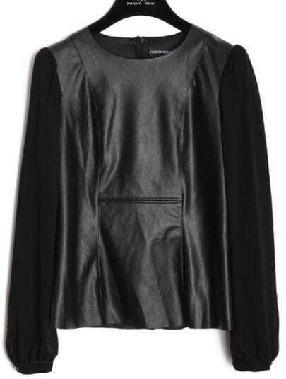 Black Round Neck Long Sleeve PU Chiffon Shirt