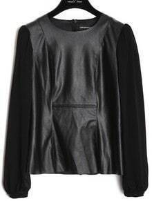 Black Round Neck Long Sleeve PU Chiffon Shirt