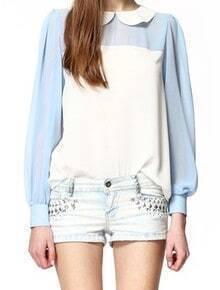 Light Blue White Lapel Long Sleeve Single Breasted Chiffon Shirt