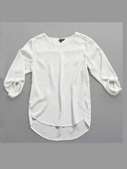 White Street Round Neck Three Quarter Length Sleeve Polyester Shirt