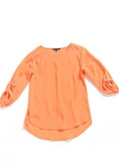 Orange Street Round Neck Three Quarter Length Sleeve Polyester Shirt