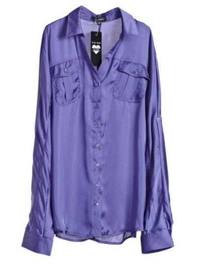 Purple Lapel Long Sleeve Single Breasted Loose Polyester Shirt