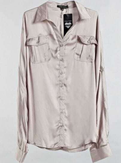 Khaki Lapel Long Sleeve Single Breasted Loose Polyester Shirt