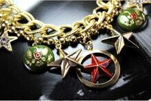 Gold Stars Badges Chain Necklace