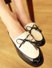 Brown Patent Leather Round Toe Bow Flat