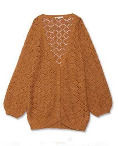 Camel V Neck Hollow Long Sleeve Crocheted Cardigan