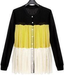 Black Yellow White Pleated Long Sleeve Knitted Cardigan