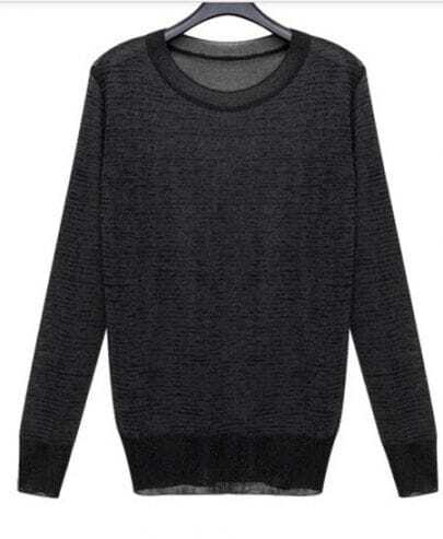 Black Contrast Hem Long Sleeve Sheer Knit Sweater
