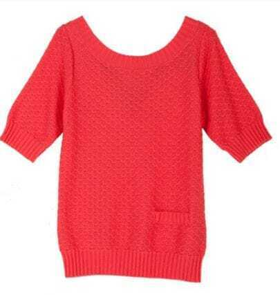 Coral Single Pocket Front Tie Back Half Sleeve Sweater