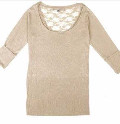 Light Apricot Contrast Lace Back Rolled Sleeve Sweater