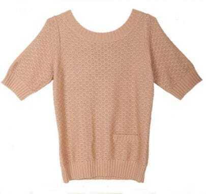 Camel Single Pocket Front Tie Back Half Sleeve Sweater