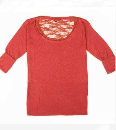 Rust Red Contrast Lace Back Rolled Sleeve Sweater