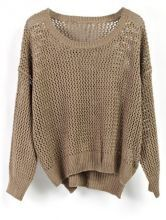 Dark Green Crocheted Hollow Batwing Long Sleeve Sweater
