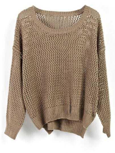 Dark Green Crocheted Hollow Batwing Long Sleeve Sweater