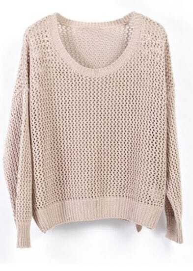 Khaki Crocheted Hollow Batwing Long Sleeve Sweater