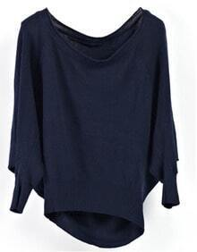 Navy Batwing Round Neck Cotton Long Sleeved Knit Sweater