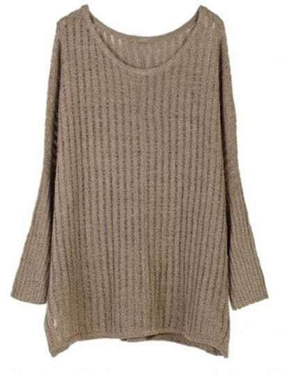 Dark Green Vertical Stripes Batwing Long Sleeve Knit Sweater