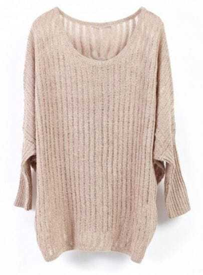Khaki Vertical Stripes Batwing Long Sleeve Knit Sweater