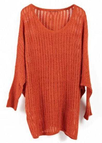 Rust Red Vertical Stripes Batwing Long Sleeve Knit Sweater
