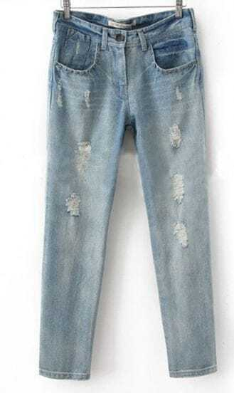 Blue Denim Zipper Fly Waist Rivets Ripped Long Pant