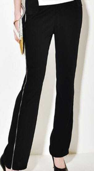 Black Elastic Waist Zip Side Long Pant