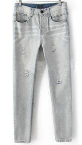 Light Grey Denim Rivets Ripped Tapered Long Pant