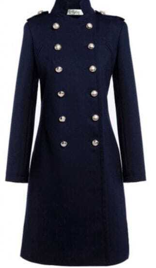 Navy Blue Double Breasted Studded Shoulder Wool Coat